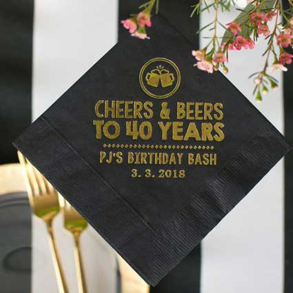 Cheers and Beers to 40 years cocktail napkins