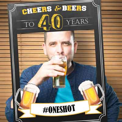 cheers and beers to 40 years photobooth props