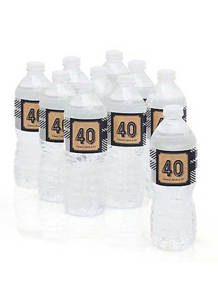 Aged to Perfection 40th birthday water bottle labels