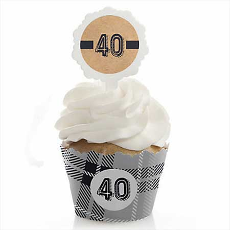 Aged to Perfection 40th birthday cupcake toppers