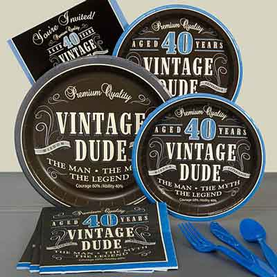 Vintage Dude 40th birthday party plates
