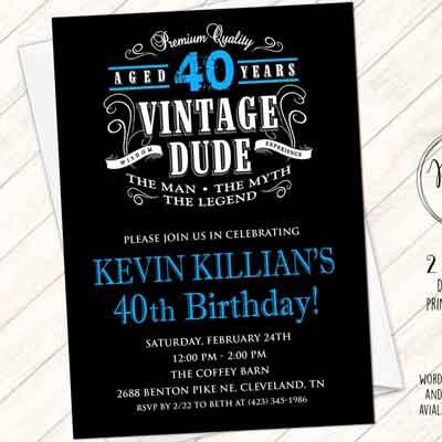Vintage Dude 40th birthday invitation