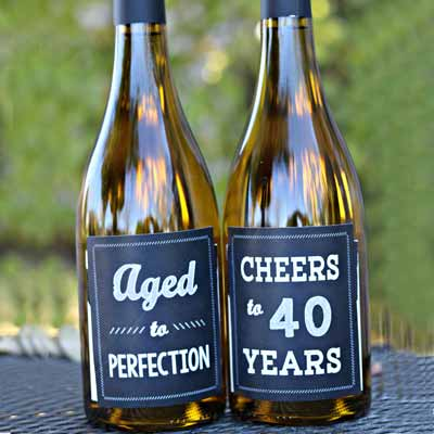 Cheers to 40 Years wine bottle labels