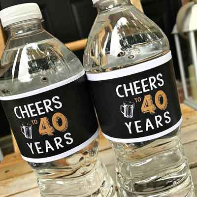 Cheers to 40 Years water labels