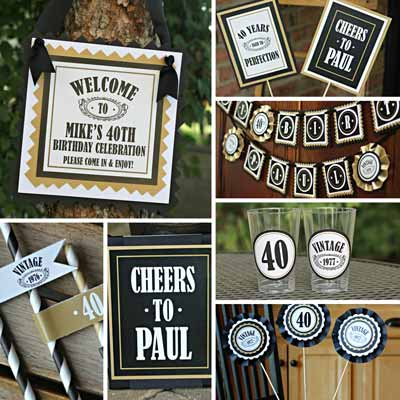 Black and Gold Vintage 40th birthday supplies