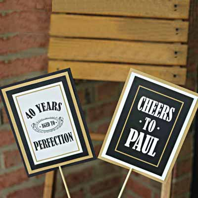 Black and Gold Vintage 40th birthday centerpieces
