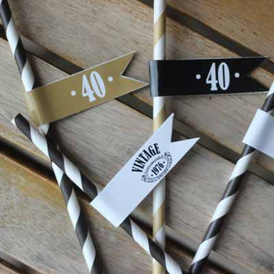 Black and Gold Vintage 40th birthday drinks straws