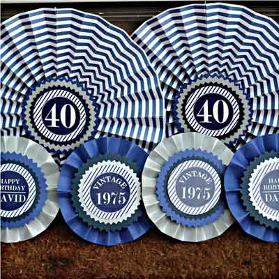 Blue and White Vintage 40th birthday party decorations