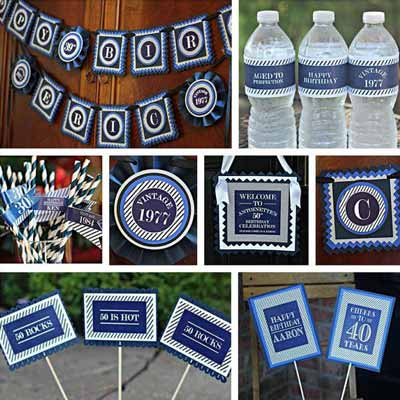 Blue and White Vintage 40th birthday supplies