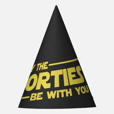 May the Forties Be With You party hats