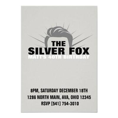 The Silver Fox birthday party invitations