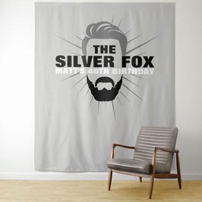 The Silver Fox with beard backdrop