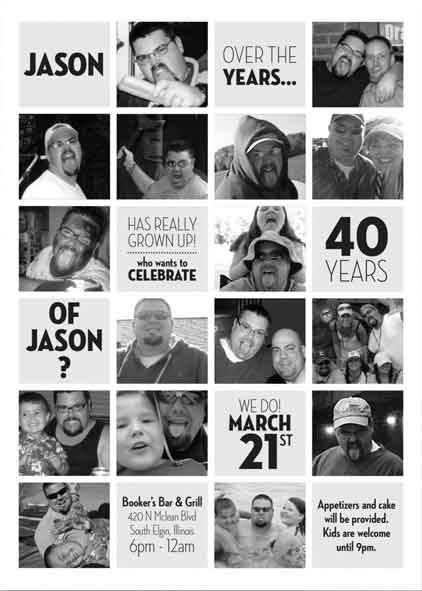 40th Birthday Party Invitation photo collage