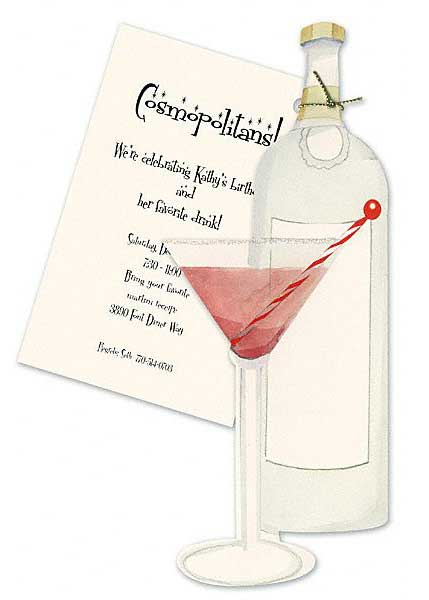 40th Birthday Party Invitation martini glass