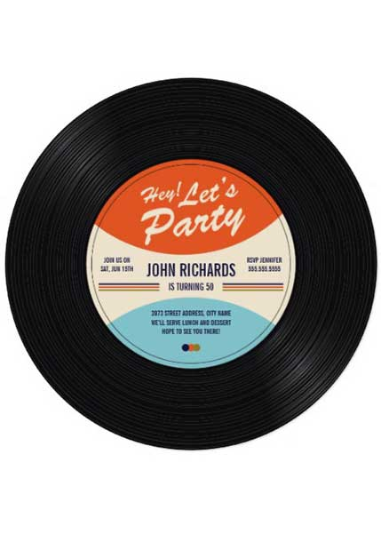 40th Birthday Party Invitation vinyl record