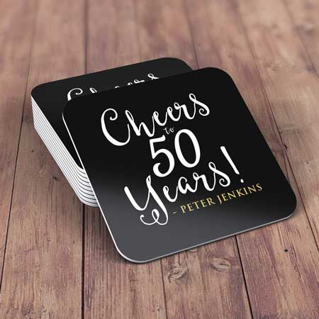 personalized drinks coasters cheers to 50 years