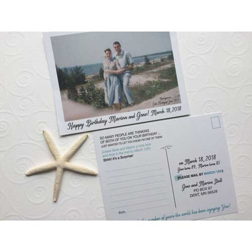 50 messages from 50 friends custom photo postcards