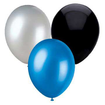 blue white and black balloons