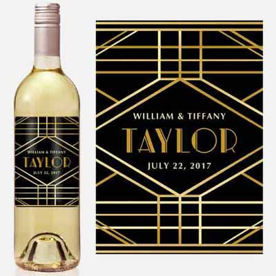 Great Gatsby Art Deco style custom wine labels
