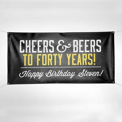 Cheers and Beers birthday banner