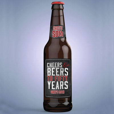 Cheers and Beers 50th birthday bottle labels