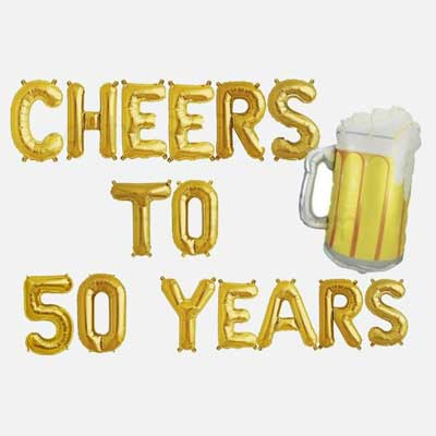 Cheers and Beers to 50 years balloons