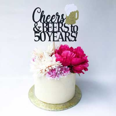 Cheers and Beers to 50 years cake topper