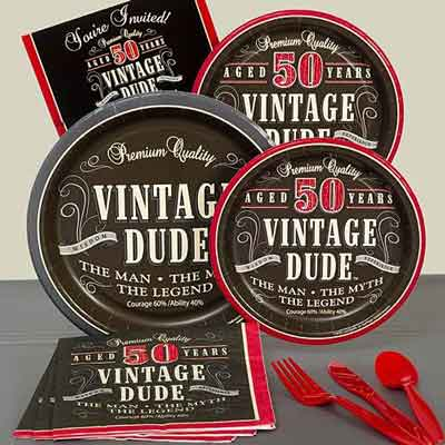 Vintage Dude 50th birthday party plates