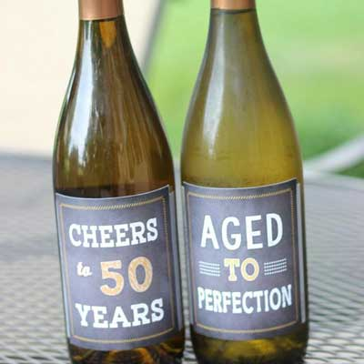 Cheers to 50 years wine bottle labels