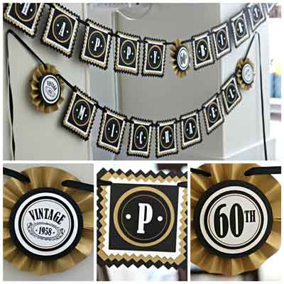 Black and Gold Vintage 50th birthday supplies