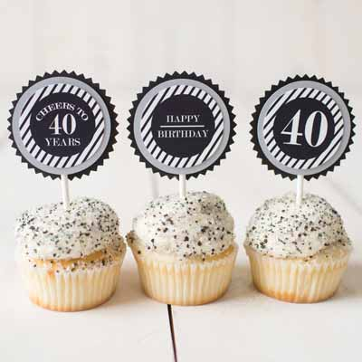 black and silver milestone birthday cupcake toppers