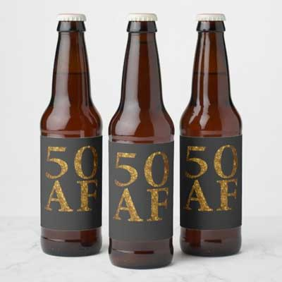 50 AF beer bottle labels