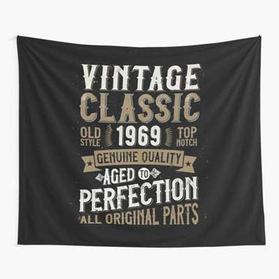 Jack Daniels style Vinatage Year backdrop wall tapestry