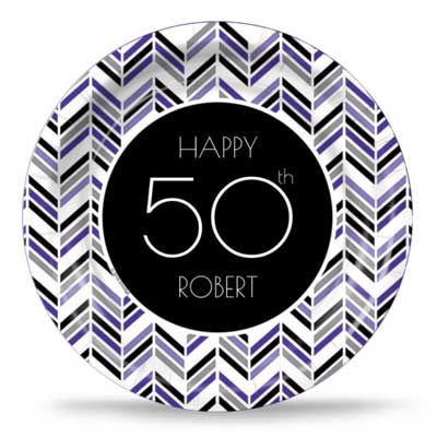 Best 50th Ever purple party plates