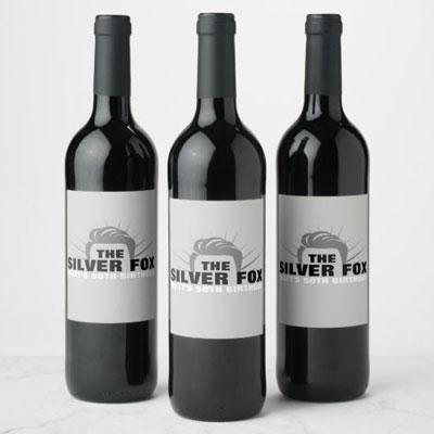 The Silver Fox wine bottle labels