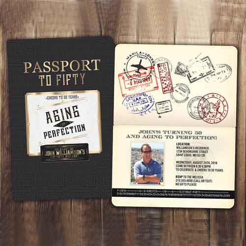 50th Birthday passport Invitation