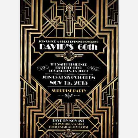 great gatsby 50th Birthday Party Invitation