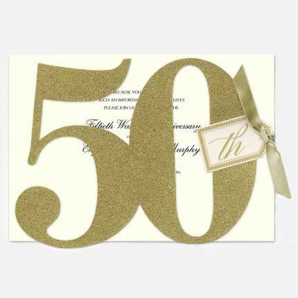 glitter 50th Birthday Party Invitation