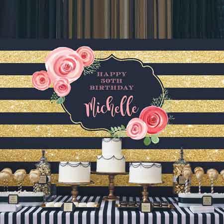 milestone birthday backdrop gold stripes