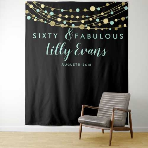 60th birthday tapestry backdrop teal and gold