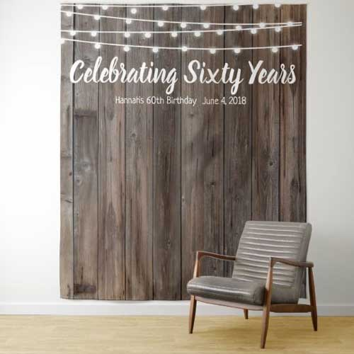 60th birthday tapestry backdrop wood effect