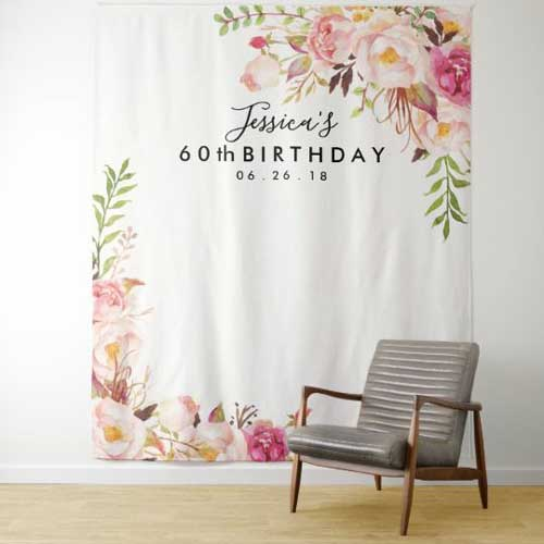 60th birthday tapestry backdrop floral design