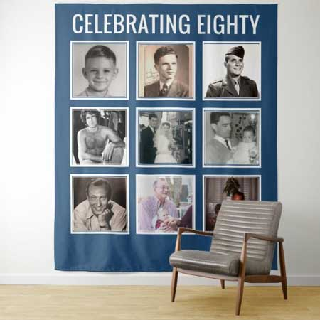 Through the Years photo collage tapestry backdrop