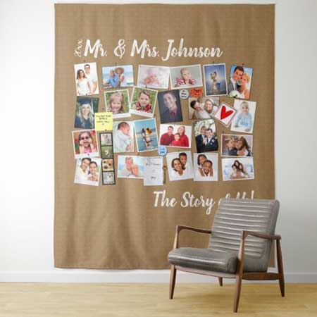 The Story of Us photo collage tapestry backdrop