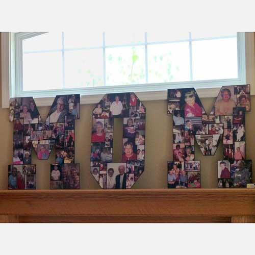 freestanding MOM photo collage