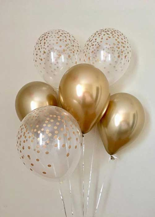 gold and clear confetti balloons