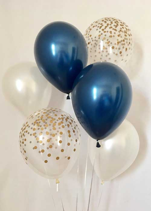 blue, white, and clear confetti balloons