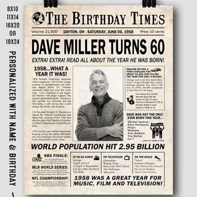 60th birthday facts newspaper