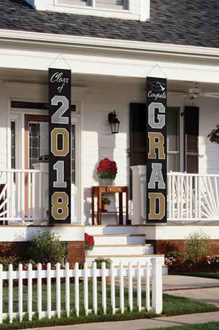 vertical banners outside house