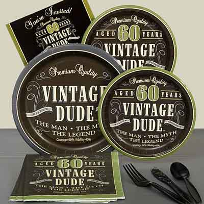 Vintage dude 60th birthday party supplies